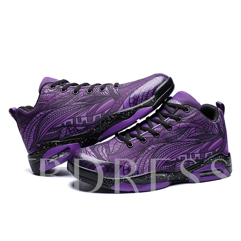 Round Toe Lace-Up Cotton Lining Color Block Casual Air-Cushion Shoes