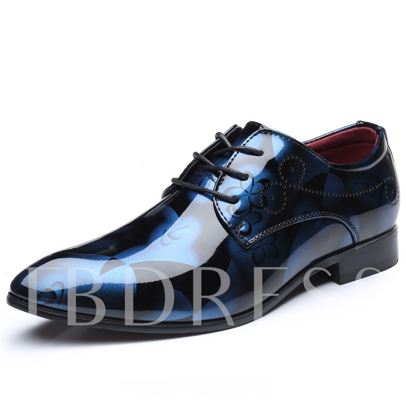 Pointed Toe Lace-Up Floral Printed Unique Men's Prom Shoes