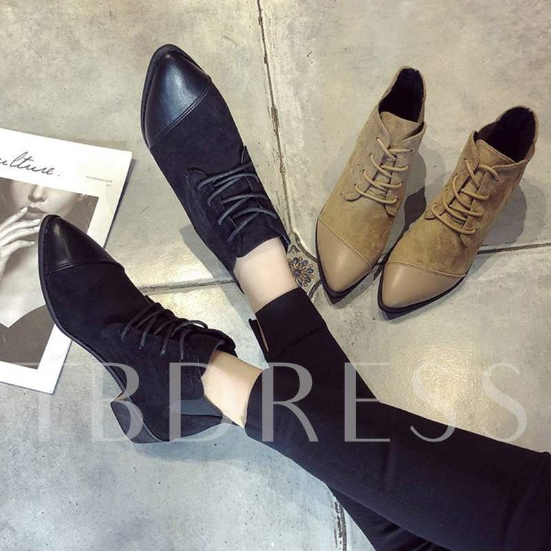 Buy Suede Elastic Band Cross Strap Pointed Toe Versatile Ankle Boots, Spring,Fall,Winter, 13456228 for $38.29 in TBDress store