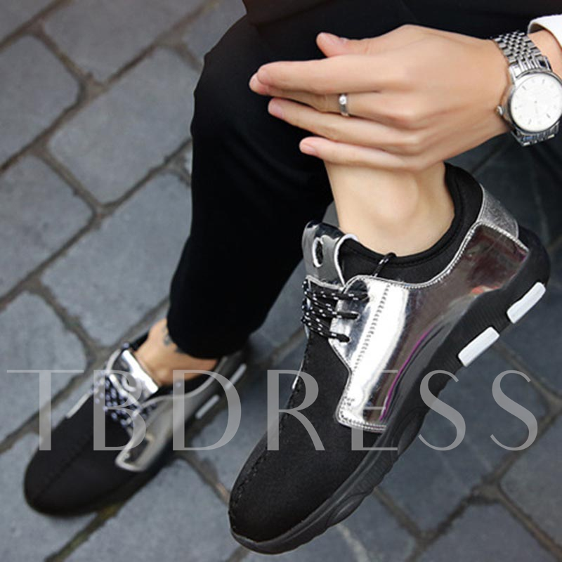 Round Toe PU Lace-Up Patchwork Metallic Flat Men's Sneakers