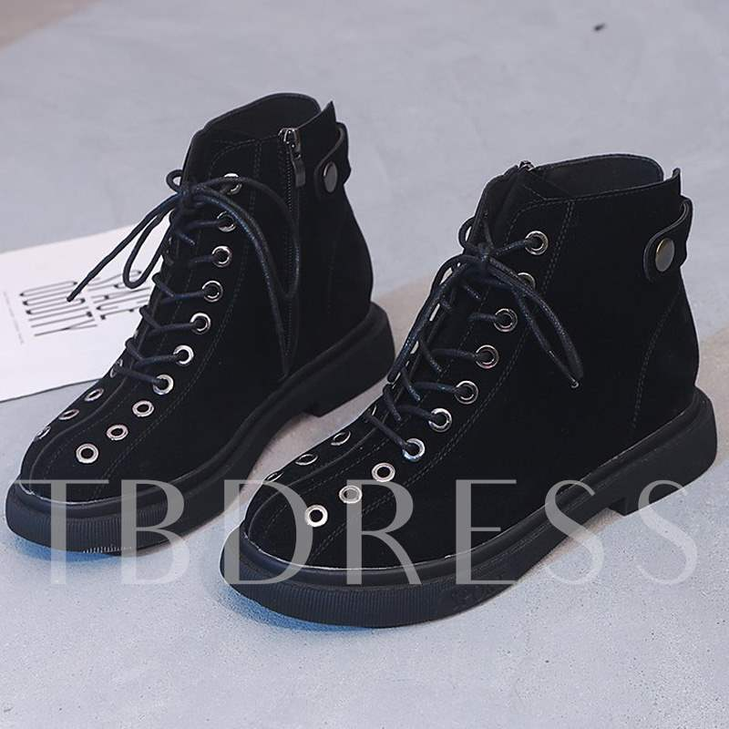 Buy Round Toe Cross Strap Platform Side Zipper Women's Martin Boots, Spring,Fall, 13456211 for $47.96 in TBDress store