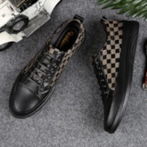Plaid Color Block Round Toe Lace-Up Exquisite Men's Skateboard Shoes