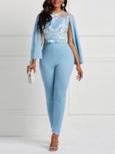 African Fashion Lace Color Block Skinny Women's Jumpsuits