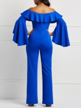 Falbala Off Shoulder Flare Sleeve Women's Jumpsuit