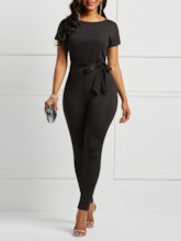 Asymmetric Plain Ankle Length Pencil Pants Women's Jumpsuit