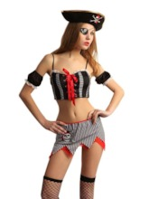 Stripe Sleeveless Lace-Up Sexy Pirate Costume
