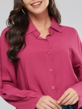 Loose Fit Button Down Solid Color Women's Shirt