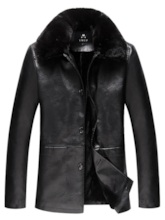 Slim Fur Lapel Plain Men's PU Jacket