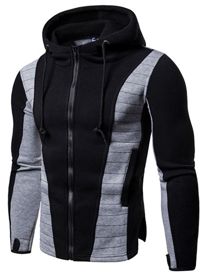 Slim Pullover Sport Fit Patchwork Mens Hoodie Slim Pullover Sport Fit Patchwork Men's Hoodie
