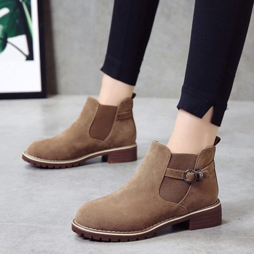 Block Heel Round Toe Sewing Buckle Plain Women's Ankle Boots
