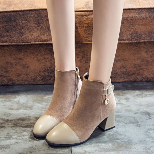 Suede Round Toe Patchwork Side Zipper Rhinestone Buckle Ankle Boots