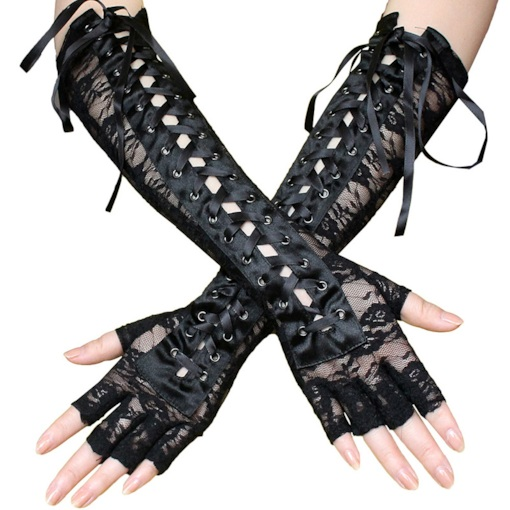 Lace-Up Wrist Length Rivet Mitten Gloves