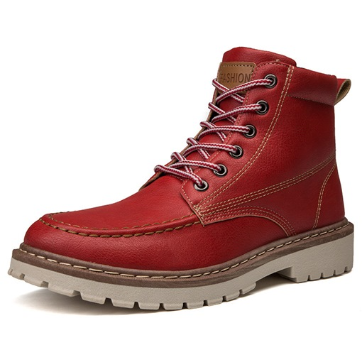 Round Toe Lace-Up Front Sewing Thread Mid-Calf Men's Boots