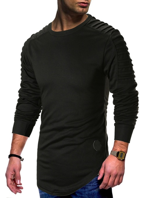 Slim Plain Scoop Neckline Men's Sweatshirt