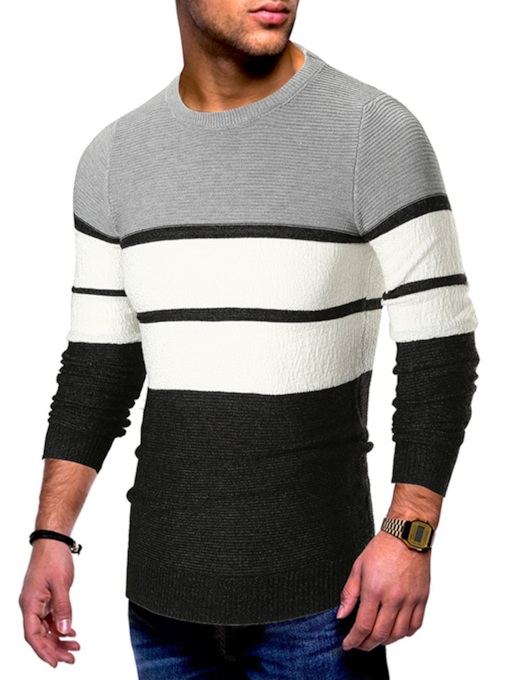 Slim Patchwork Scoop Neckline Men's Sweater
