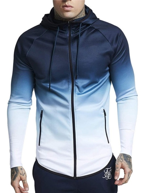 Sport Fit Slim Pullover Gradient Printed Men's Jacket