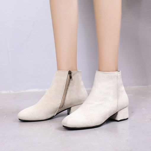 Suede Chunky Heel Round Toe Side Zipper Plain Women's Ankle Boots