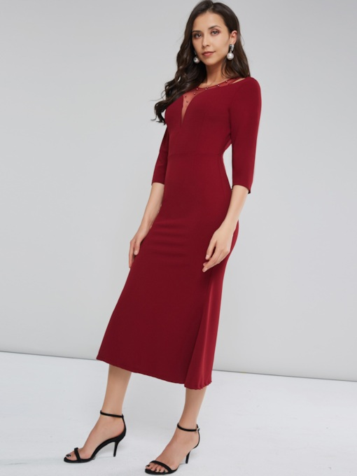 Christmas See-Through Long Sleeve Women's Maxi Dress