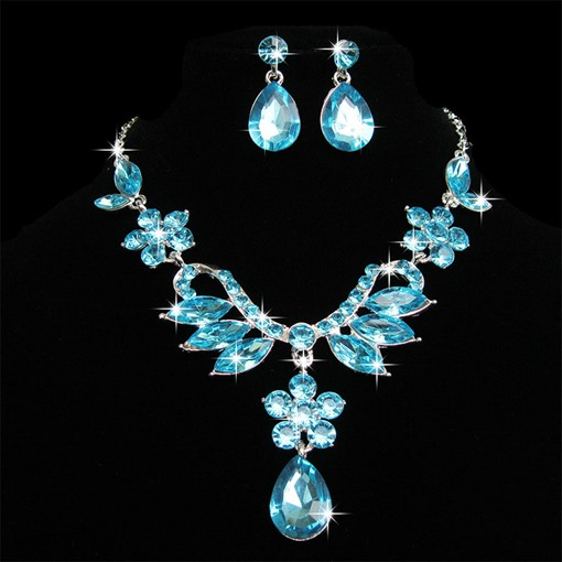 Romantic Rhinestone Earrings Necklace Jewelry Sets for Bride