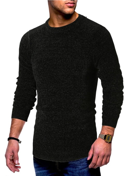Slim Plain Scoop Neckline Pullover Men's Sweater