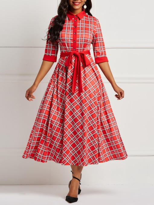 Pocket Plaid 3/4 Length Sleeves Women's Maxi Dress