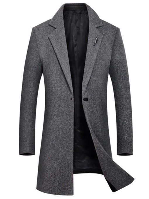 England Slim Lapel Mid-Length Plain Men's Woolen Coat