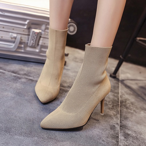 Stiletto Heel Pointed Toe Slip-On Casual Stylish Women's Ankle Boots