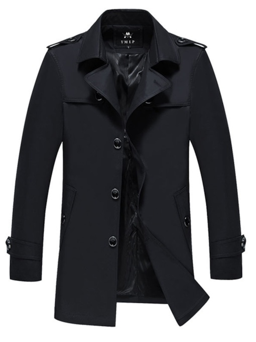 Slim Lapel Plain Mid-Length Single-BreastedMen's Trench Coat