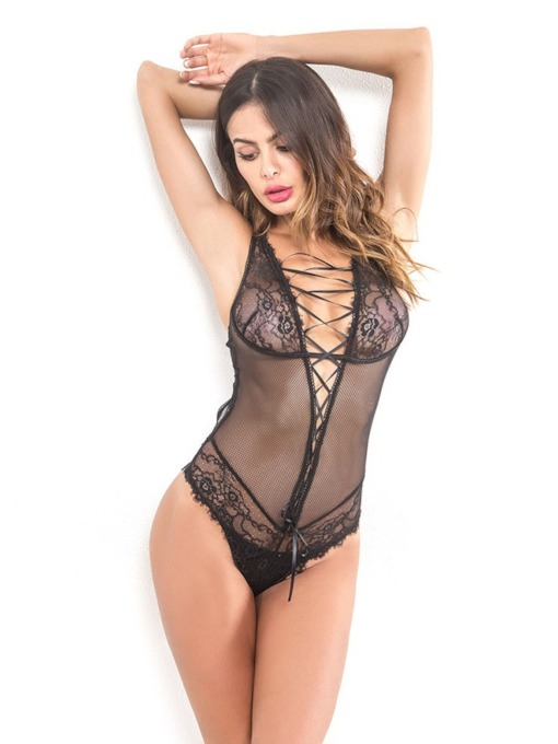 Hollow Lace-Up Sexy Teddy