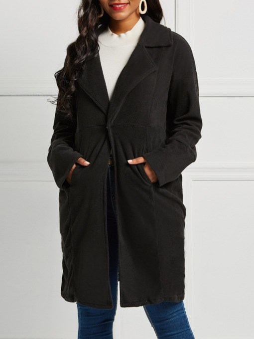 Notched Lapel Plain Mid-Length Women's Overcoat