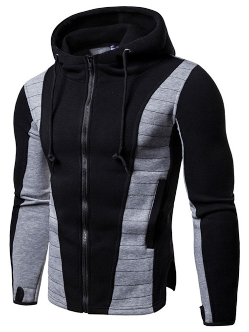 Slim Pullover Sport Fit Patchwork Men's Hoodie