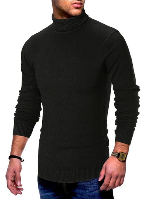 Slim Plain High Neck Pullover Men's Sweater