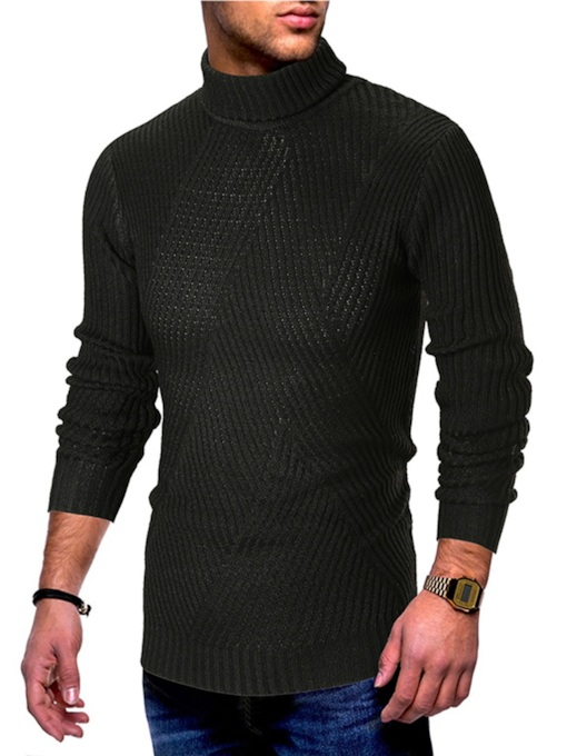 Slim High Neck Plain Men's Sweater