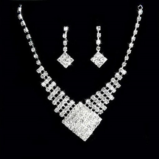 Concise Full Drill Design Earrings Necklace Jewelry Set for Bride