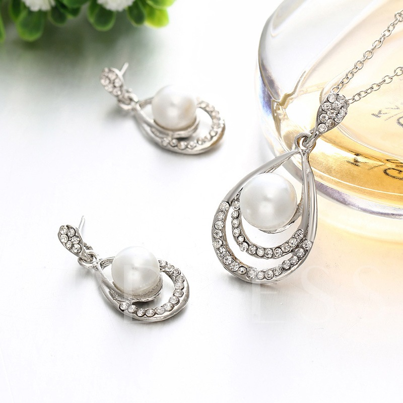 Water Drop Shape Pearl Inlaid 3-Piece Jewelry Sets