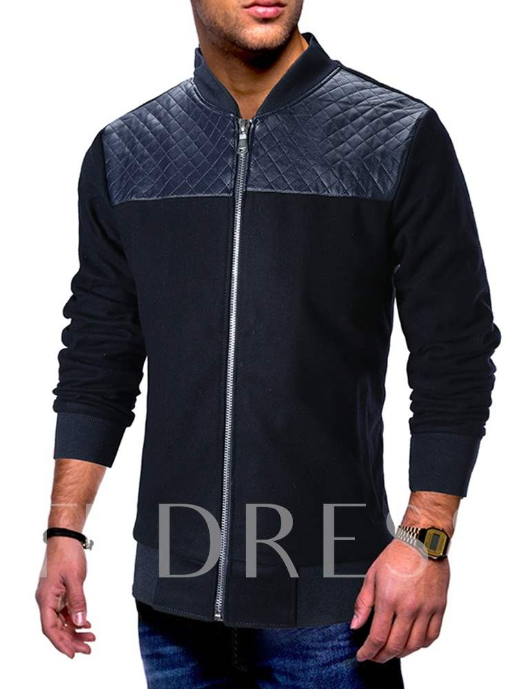 Buy Slim Stand Collar Patchwork Men's Jacket, Fall,Winter, 13459352 for $39.63 in TBDress store