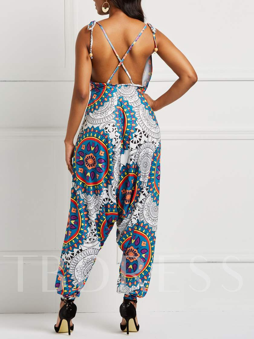 Ankle Length Floral Casual Loose Women's Jumpsuits