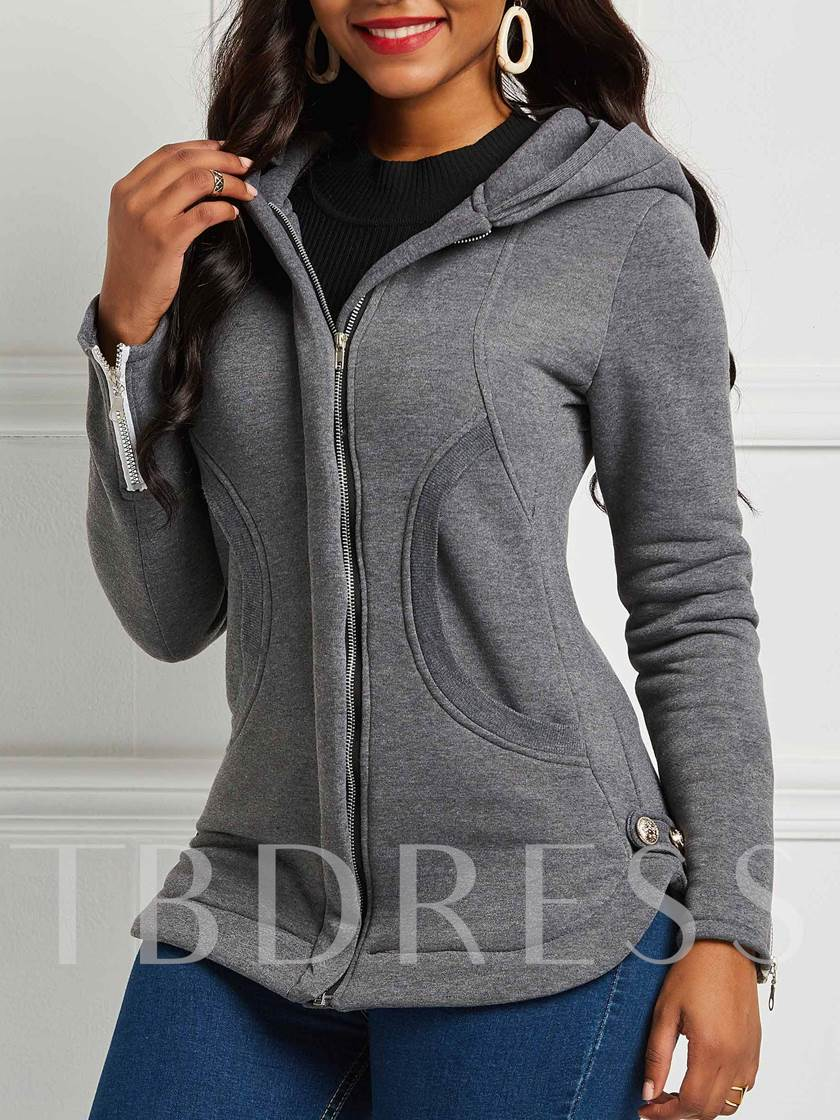 Zipper Slim Plain Hooded Women's Jacket