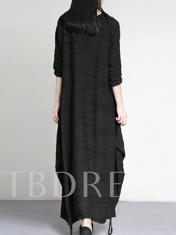 Long Sleeve Lace-Up Ankle-Length Casual Women's Dress