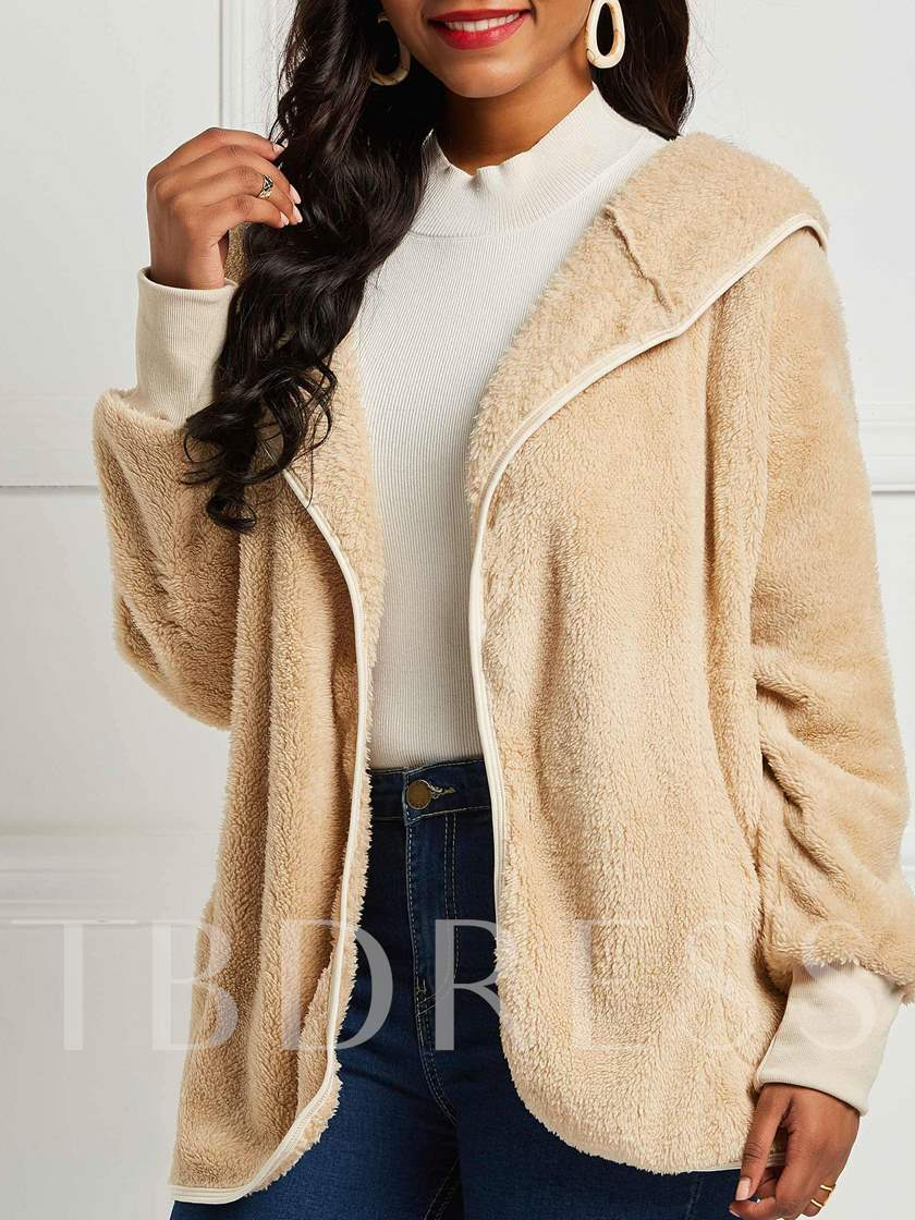 Loose Plain Mid-Length Hooded Women's Teddy Jacket