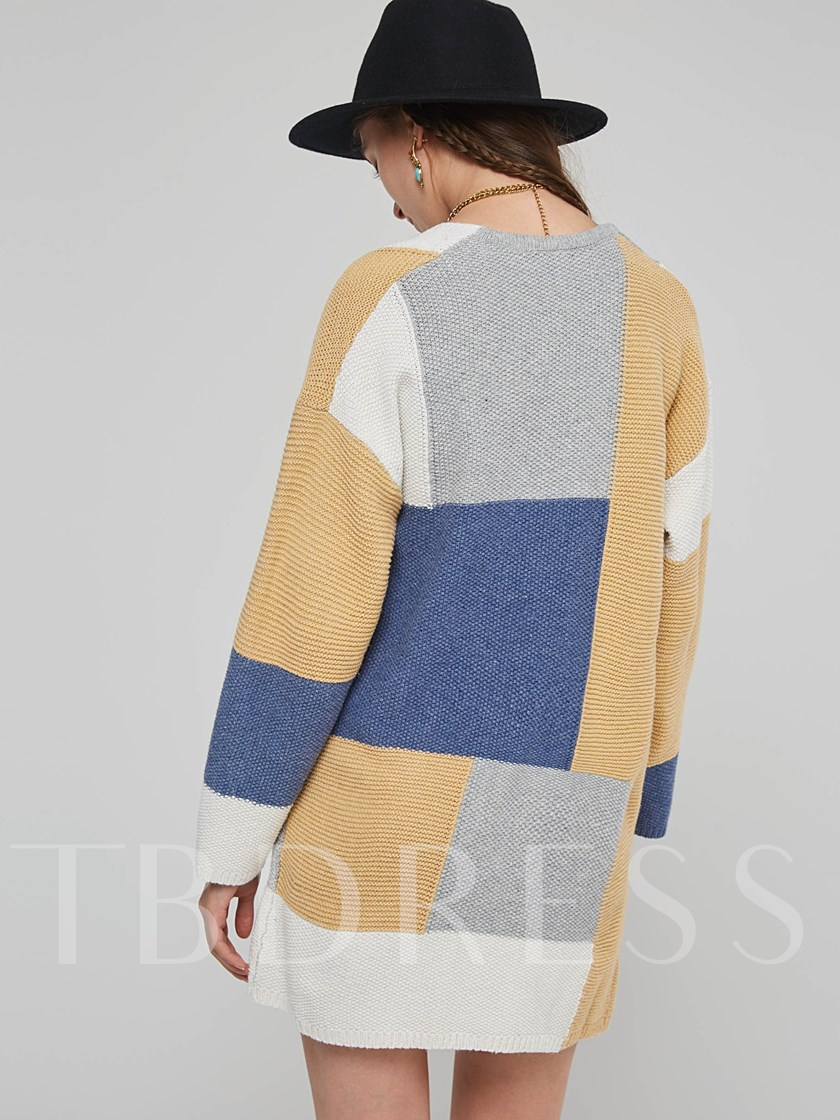 Open Front Color Blocok Pocket Women's Knitwear