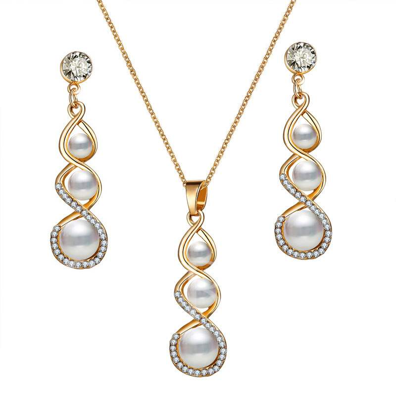 Romantic Pearl Decorated Earrings Necklace Jewelry Sets for Bride