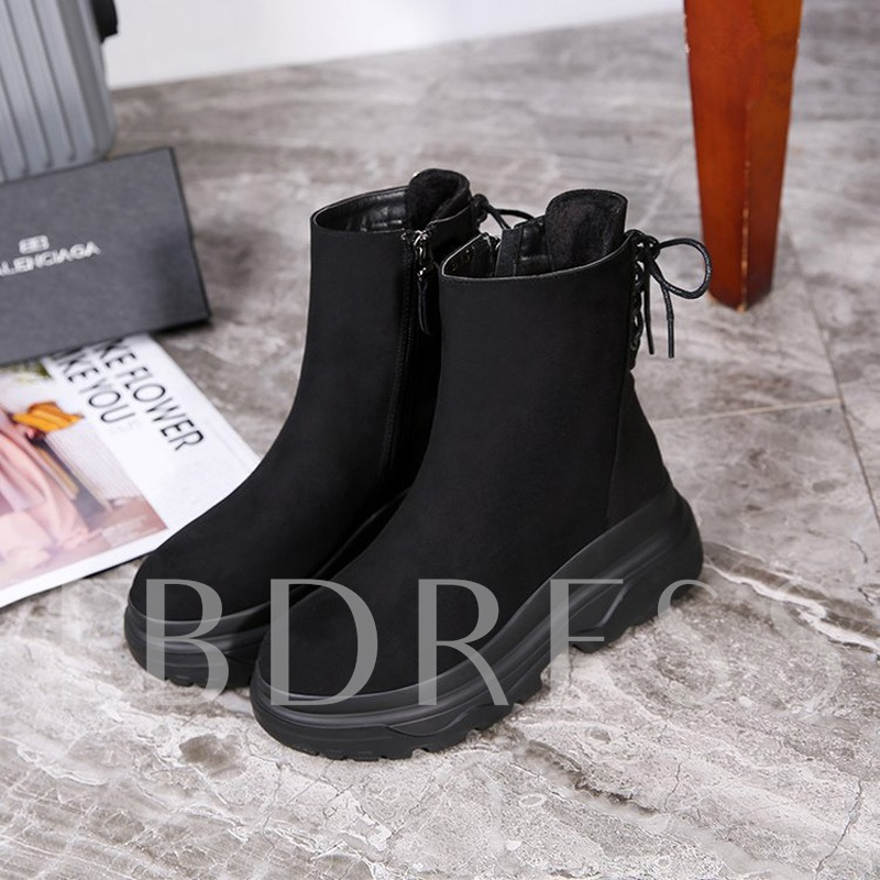 Buy Suede Round Toe Side Zipper Cross Strap Platform Women's Ankle Boots, Spring,Fall,Winter, 13459553 for $33.61 in TBDress store