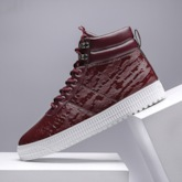 Lace-Up Round Toe Casual High Top Skateboard Shoes for Men