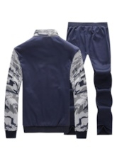 Casual Camouflage Patchwork Men's Sports Suit