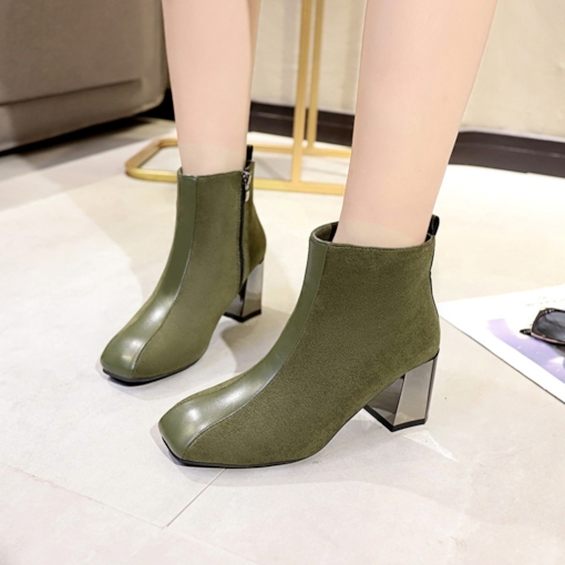 Suede Square Toe Side Zipper Chunky Heel Chic Women's Ankle Boots
