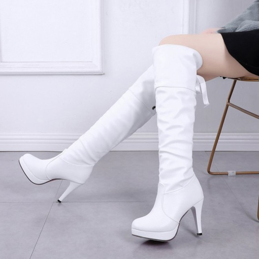Round Toe Platform Stiletto Heel Lace-Up Back Women's Knee High Boots