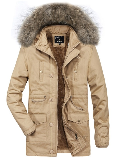 Slim Stand Collar Hooded Thick Plus Fur Mid-Length Men's Jacket
