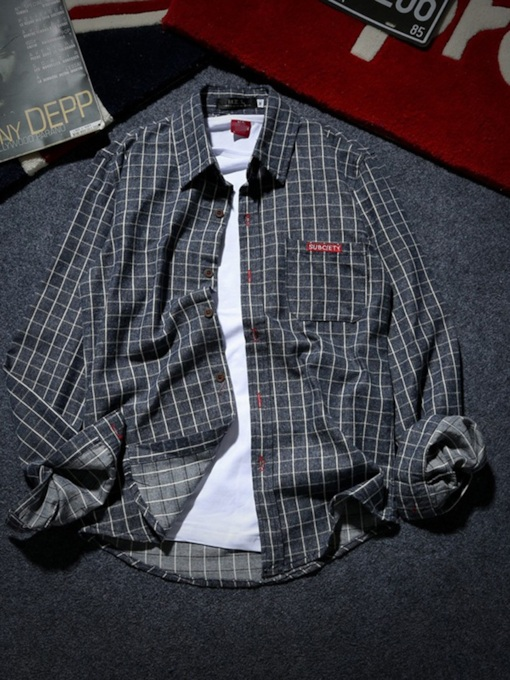 Plaid Lapel Korean Slim Men's Shirt