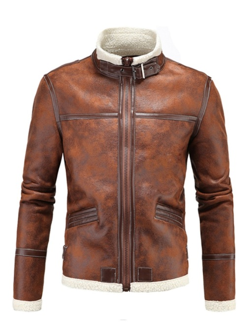 Slim Stand Collar Patchwork Plain Men's PU Jacket